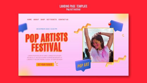 Sjabloon voor bestemmingspagina's voor pop-artfestival Premium Psd