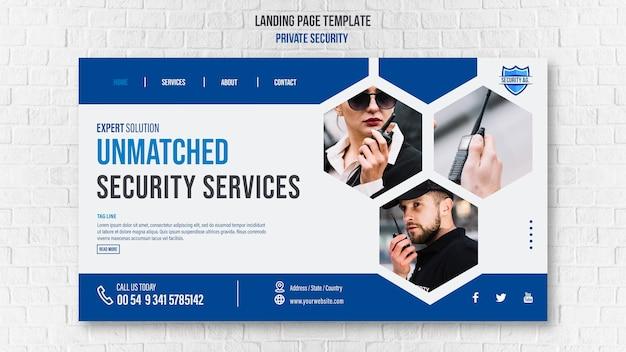 Sjabloon voor bestemmingspagina voor beveiligingsdiensten Gratis Psd