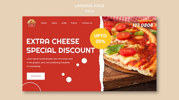 Sjabloon voor bestemmingspagina voor pizzarestaurant Gratis Psd