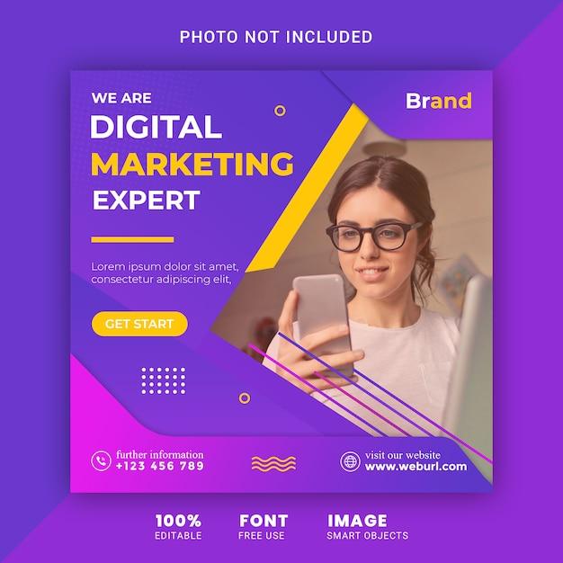 Sjabloon voor digitale marketing sociale media-spandoek Premium Psd