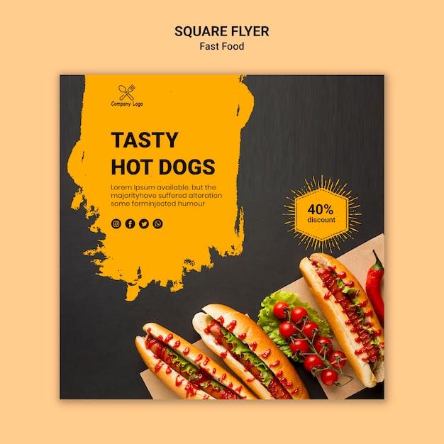 Sjabloon voor fastfood vierkante flyer Gratis Psd