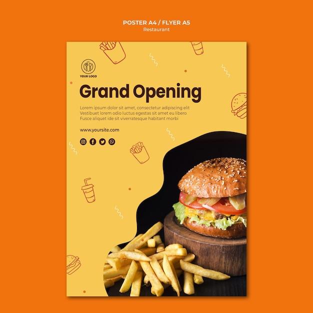 Sjabloon voor flyer van hamburger restaurant Premium Psd