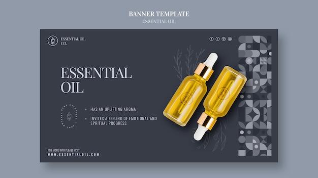 Sjabloon voor horizontale spandoek met etherische olie cosmetica Gratis Psd