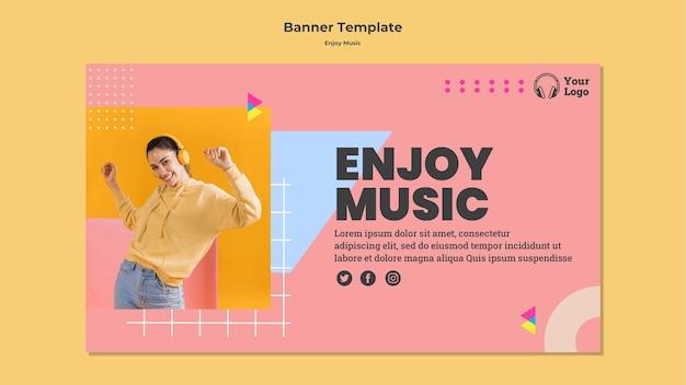 Sjabloon voor horizontale spandoek om van muziek te genieten Gratis Psd