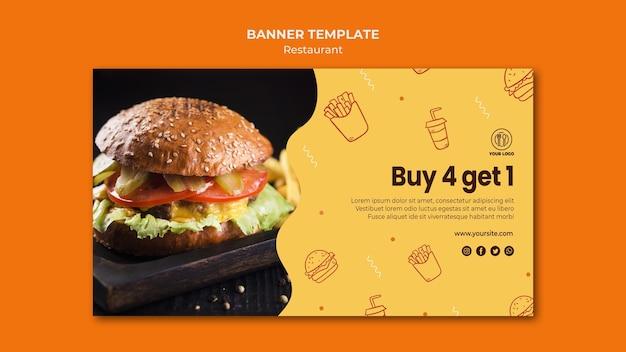 Sjabloon voor horizontale spandoek van hamburgerrestaurant Gratis Psd