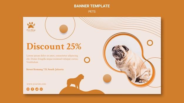 Sjabloon voor horizontale spandoek voor dierenwinkel met hond Gratis Psd