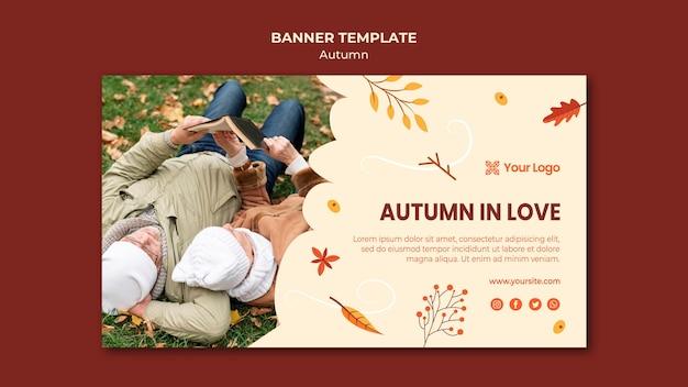 Sjabloon voor horizontale spandoek voor het verwelkomen van het herfstseizoen Gratis Psd