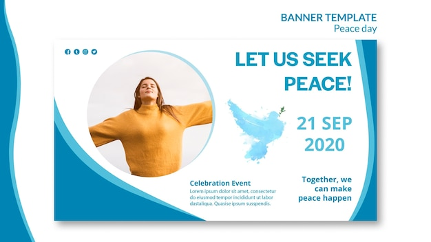 Sjabloon voor horizontale spandoek voor internationale dag van vrede Gratis Psd