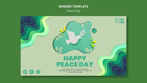 Sjabloon voor horizontale spandoek voor internationale vredesdag Gratis Psd