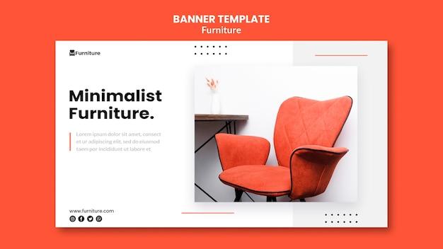 Sjabloon voor horizontale spandoek voor minimalistische meubelontwerpen Gratis Psd