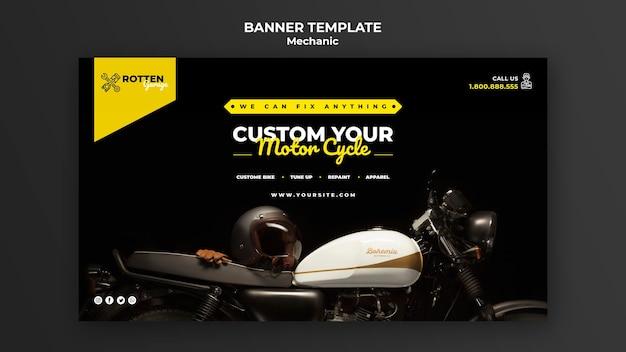 Sjabloon voor horizontale spandoek voor motorfiets reparatiewerkplaats Gratis Psd