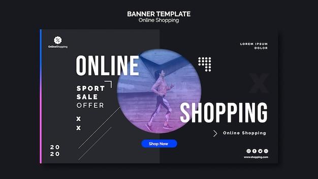 Sjabloon voor horizontale spandoek voor online athleisure winkelen Gratis Psd