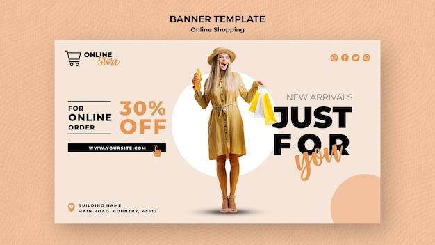 Sjabloon voor horizontale spandoek voor online mode verkoop Gratis Psd