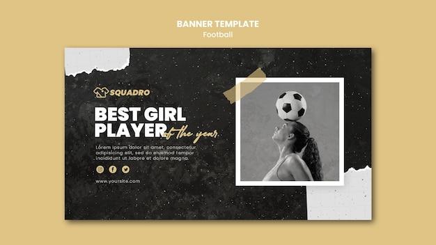 Sjabloon voor horizontale spandoek voor vrouwelijke voetballer Gratis Psd