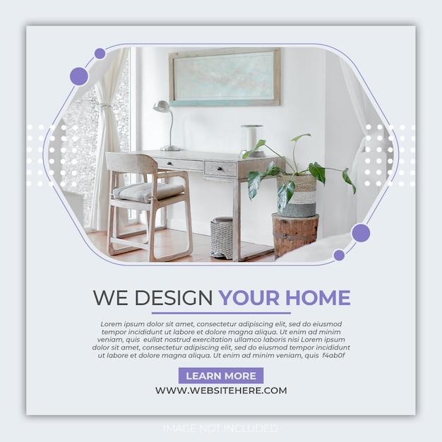 Sjabloon voor interieurmeubilair instagram-banner Premium Psd