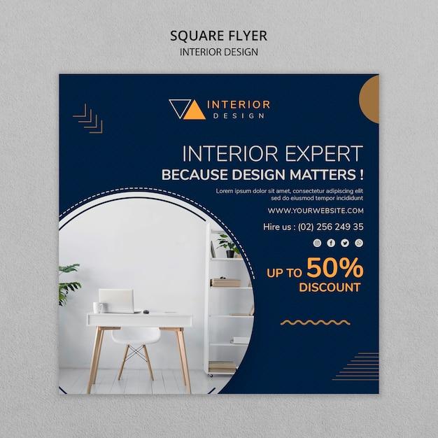 Sjabloon voor interieurontwerp vierkante flyer Gratis Psd