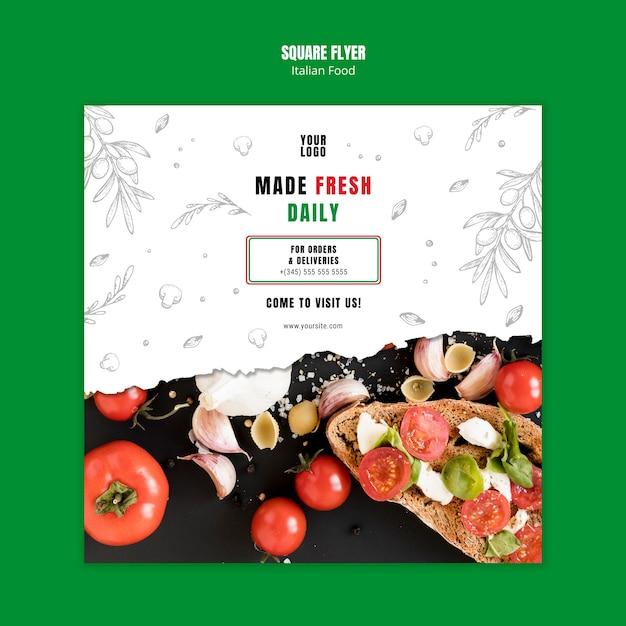 Sjabloon voor italiaans eten bedrijf vierkante flyer Gratis Psd