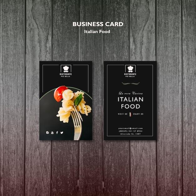 Sjabloon voor italiaans eten visitekaartjes Gratis Psd