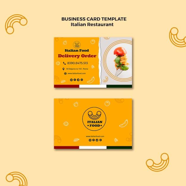 Sjabloon voor italiaans restaurant visitekaartjes Gratis Psd