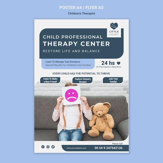 Sjabloon voor kindertherapeut concept folder Gratis Psd