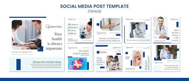 Sjabloon voor klinische posts op sociale media Premium Psd
