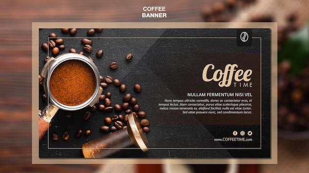 Sjabloon voor koffie concept-spandoek Gratis Psd