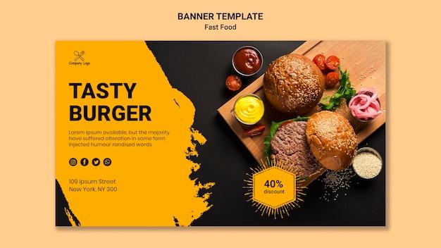 Sjabloon voor lekker hamburger spandoek Gratis Psd