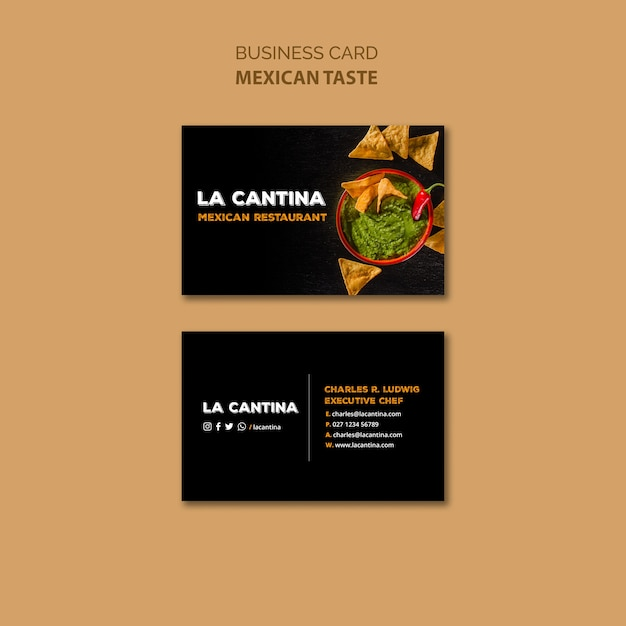 Sjabloon voor mexicaans restaurant-visitekaartjes Gratis Psd