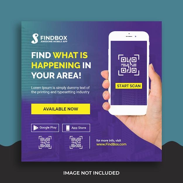 Sjabloon voor mobiele app-promotie sociale media-sjabloon Premium Psd