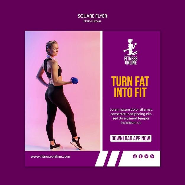 Sjabloon voor online fitness concept vierkante flyer Gratis Psd