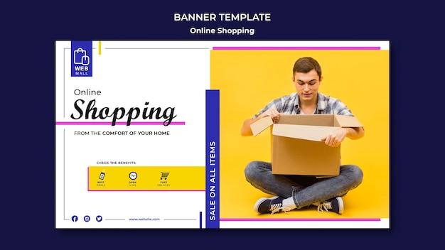 Sjabloon voor online winkelen-spandoek concept Gratis Psd
