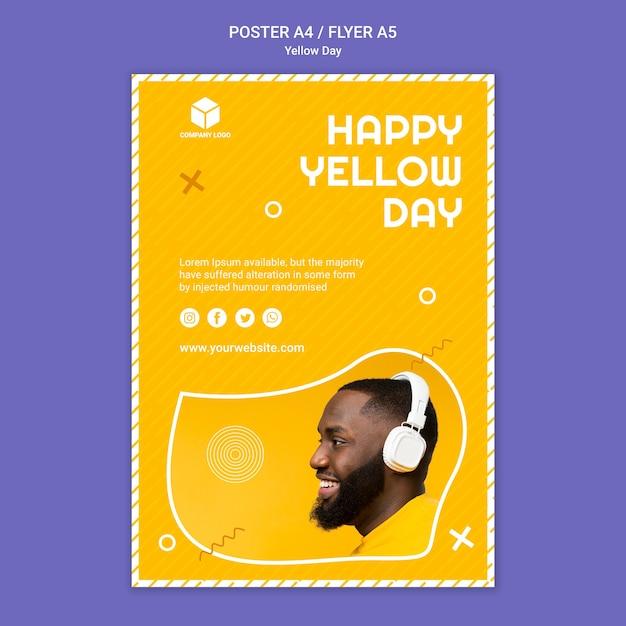 Sjabloon voor poster met gele dag Gratis Psd