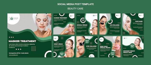 Sjabloon voor posts op sociale media voor schoonheidsverzorging Gratis Psd