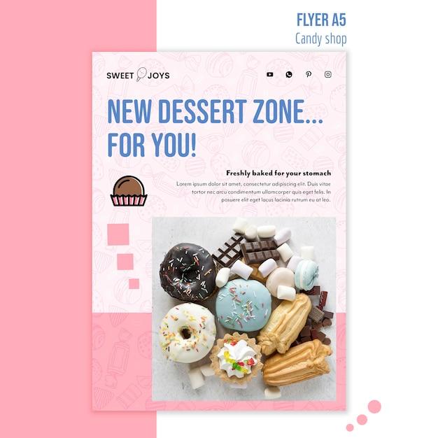 Sjabloon voor promotionele snoepwinkel flyer Gratis Psd