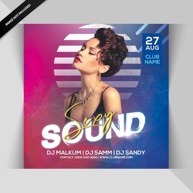 Sjabloon voor sexy geluidspartij flyer Premium Psd