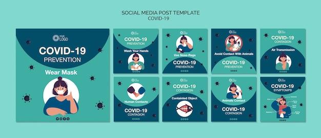 Sjabloon voor sociale mediasjablonen met covid 19 Gratis Psd