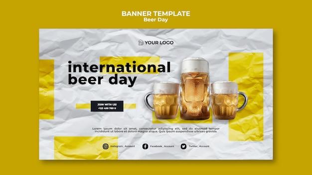 Sjabloon voor spandoek bier dag Gratis Psd