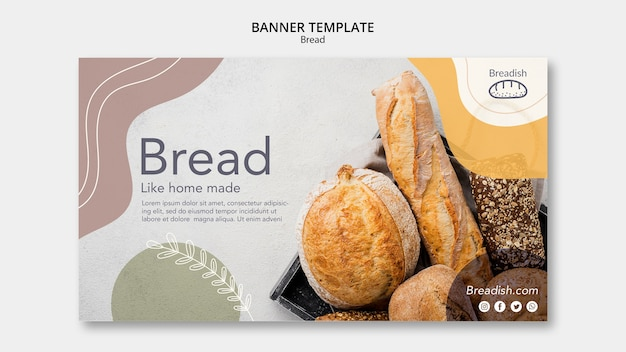 Sjabloon voor spandoek brood concept Gratis Psd
