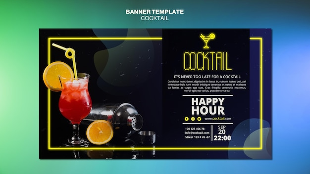 Sjabloon voor spandoek cocktail concept Gratis Psd