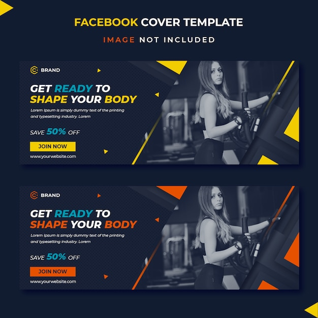 Sjabloon voor spandoek fitness facebook dekking Premium Psd