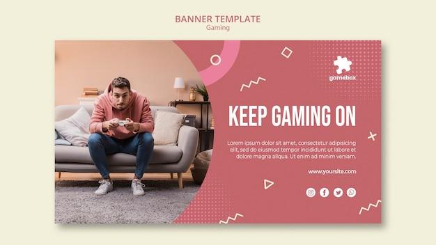 Sjabloon voor spandoek gaming concept Gratis Psd