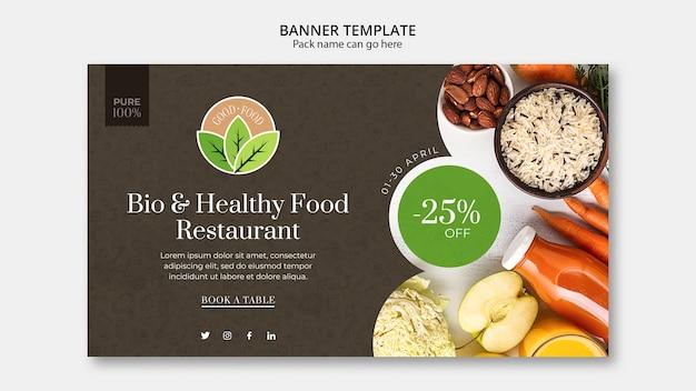 Sjabloon voor spandoek gezond eten restaurant Gratis Psd