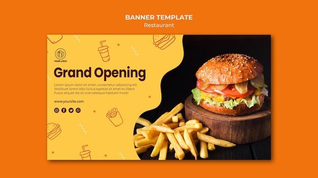 Sjabloon voor spandoek hamburger restaurant Gratis Psd