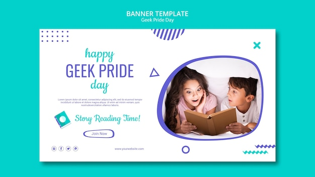 Sjabloon voor spandoek happy geek pride day Gratis Psd