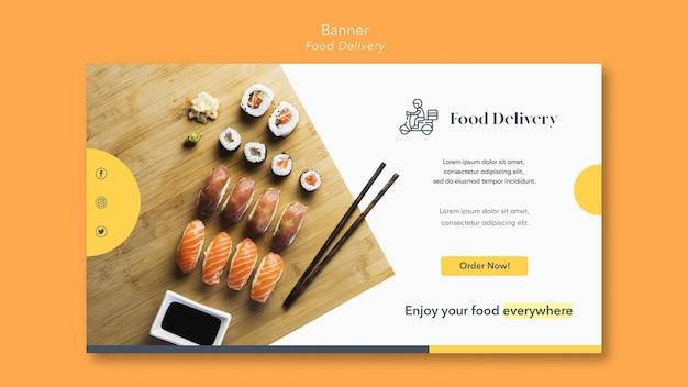 Sjabloon voor spandoek levering van voedsel Gratis Psd