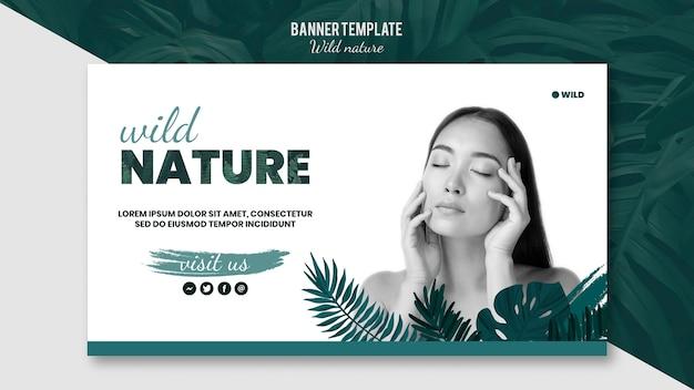 Sjabloon voor spandoek met wilde natuur ontwerp Gratis Psd