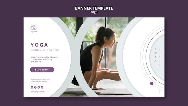 Sjabloon voor spandoek met yoga ontwerp Gratis Psd