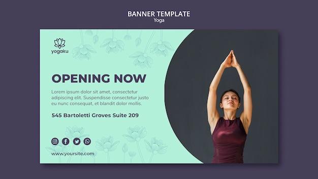 Sjabloon voor spandoek met yoga thema Gratis Psd