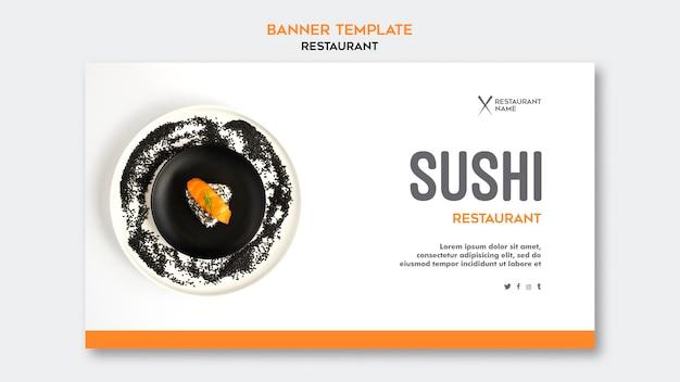 Sjabloon voor spandoek sushi restaurant Gratis Psd