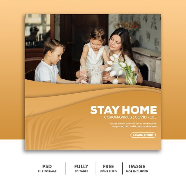 Sjabloon voor spandoek thuis blijven Premium Psd